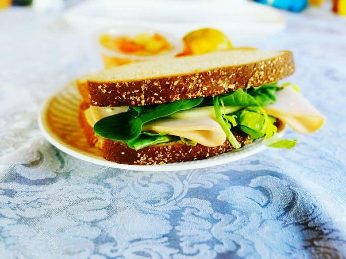 Sandwich served on plate