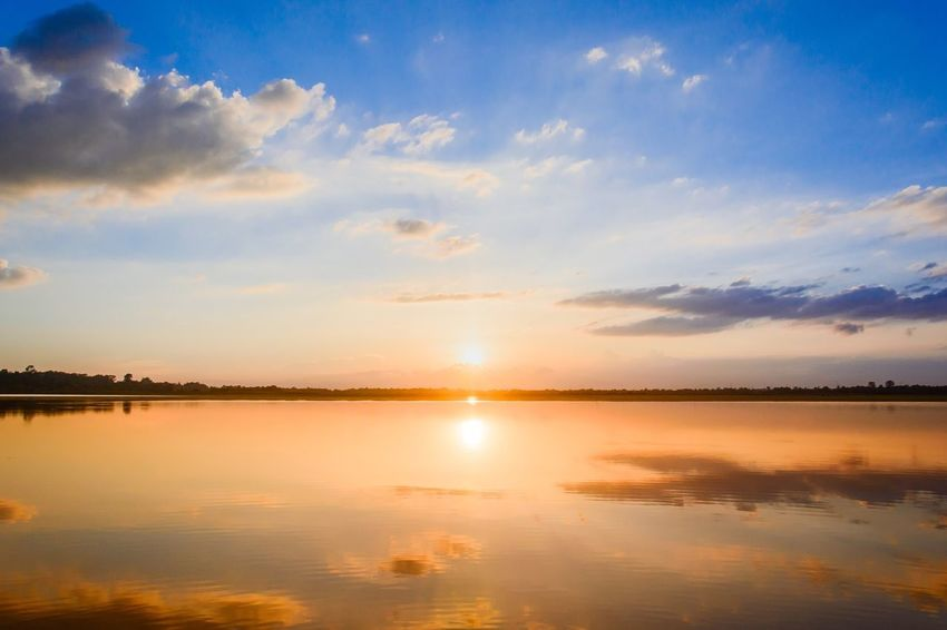 Sunset lake River Lake Sunset EyeEm Selects Sky Reflection Water Scenics - Nature Sunset Cloud - Sky Tranquility Tranquil Scene Orange Color Sunlight Lake Idyllic Waterfront Non-urban Scene Outdoors Sun Romantic Sky Beauty In Nature