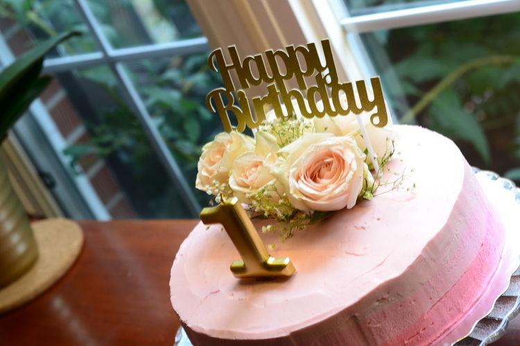 High angle view of birthday cake on table
