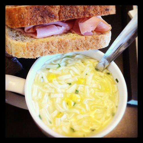 Lunch Creamofchickenandcorn Lotsanoodles Hamsandwich multigrain ham yum healthy ???