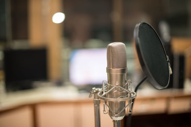 Close-up of microphone