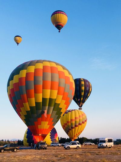 Up up and away!!! Enjoying Life The Great Outdoors - 2018 EyeEm Awards Live for the Story Taking Photos Air Vehicle Hot Air Balloon Transportation Balloon Multi Colored Mode Of Transportation Flying Adventure Outdoors