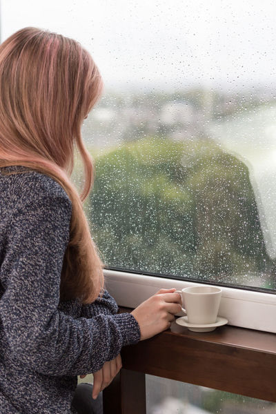 Rainy day Rest Rainy Season Raining Long Hair Woman Cozy Sweater Weather Sweater Summer Waterdrops Dream Mindfulness Loneliness Lonely Melancholy Sadness Cup Sad Coffee Back Girl Window Rainy Weather Rainy Day Rain