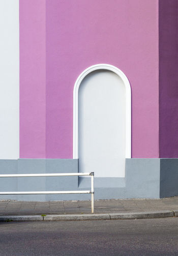 A Glitch In The Matrix Arch Architectural Detail Architecture Architecture Architectureporn Berlin Closed Door Doorway Façade Geometry Minimalism No People Parallel Perspective Pink Purple Urban Geometry Wall Wall Wall - Building Feature West Berlin Color Palette Minimalist Architecture Colour Your Horizn