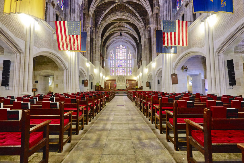 The Oldest Military Chapel in the US Architecture Chapel Church Aisle Altar Arch Architectural Column Architecture Belief Bench Building Built Structure Ceiling Chair Christ Empty Flag In A Row Long Exposure Pew Place Of Worship Religion Spirituality Table West Point