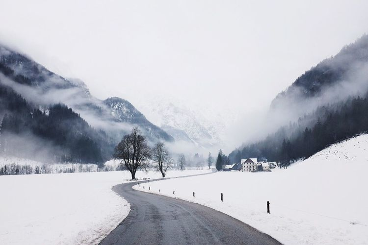 Snow Cold Temperature Winter Mountain Weather Snowcapped Mountain Tranquil Scene Mountain Range Scenics Nature Beauty In Nature Non-urban Scene Tranquility Landscape Tree Outdoors Day Sky Fog No People Slovenia Logarska Dolina
