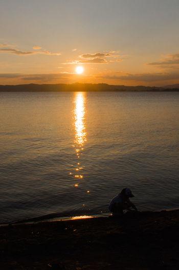 Children Water Reflections Lake Lake Sunset Landscape Sky 夕焼け 感謝