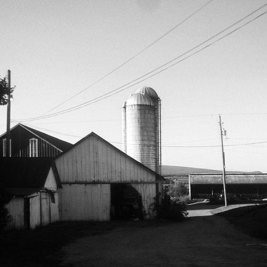 Barn with innovative door mod Amishcountry Farm Blackandwhite Barn silos farmhouse driveway ruralamerica rurex trb_members1 pennsylvania