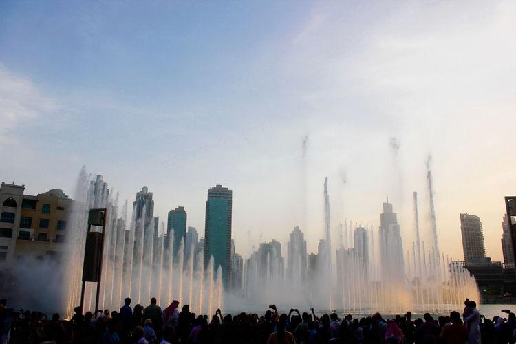 The dubai fountain near the dubai mall- world's largest choreographed fountain system.burj khalifa