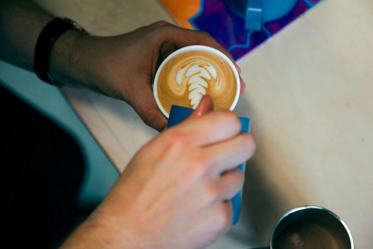 Art Barista Blue Cappuccino Chocolate Coffee Coffee Beans Coffee Break Coffee Cup Coffee Shop Coffee Shop Scene Coffee Time Espresso Handmade Hot Drink Latte Latte Art Latteart Milk Pot Overhead View Pattern People Pour Rosetta Steamed Milk Fresh On Market 2017
