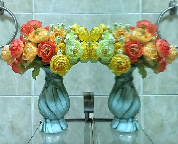Artificial Choice Flower Freshness Glass Indoors  Mirror Petal Pink Color Red Relate Rose - Flower Vase