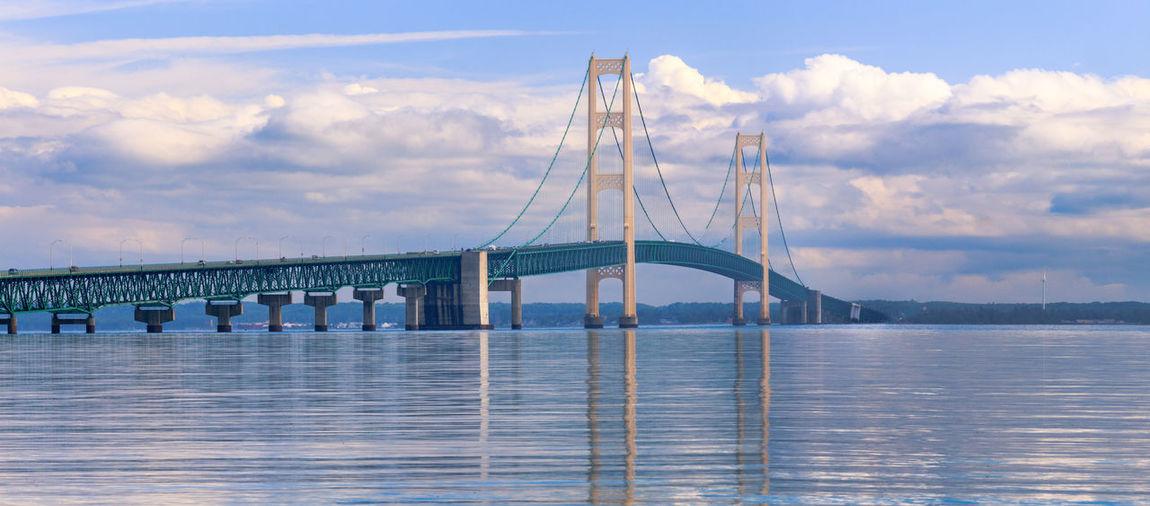 Mackinac bridge against sky