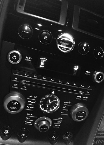Astin Martin Technology Control Panel Control Close-up No People Number Vehicle Interior
