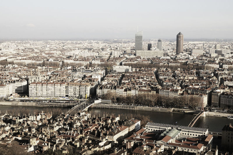 Panorama of the city of Lyon from above (France) Cityscape City Architecture Building Exterior Built Structure Building Sky Residential District Water Financial District  Travel Destinations Office Building Exterior Skyscraper Settlement River Outdoors Day Lyon France LyonCity France TOWNSCAPE Town EyeEm Best Shots EyeEm Selects EyeEm Gallery