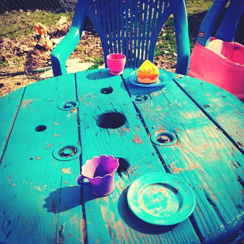 Blue Day Outdoors No People Tea Party Anyone? Teatime Mother Daughter Love Fun Day Pretend Imagination