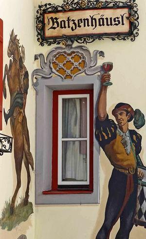 German beer house sign Batzenhourst German Beer House German Hotel German Signs Lantern Wall Sign Crafted Iron German Beer German/Austrian Restaurant Hand Painted Sign Iron Scroll Sign Painted Buildings Pig Sign