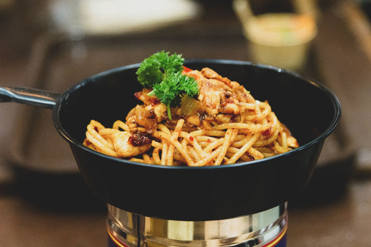 Close-up of food in bowl on table