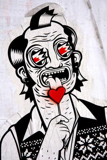 Detail of artwork/ illustration in the street, Madrid, Spain. ArtWork Cartoon City Day Humor Love Heart Madrid Illustration Outdoors Urban Vertical