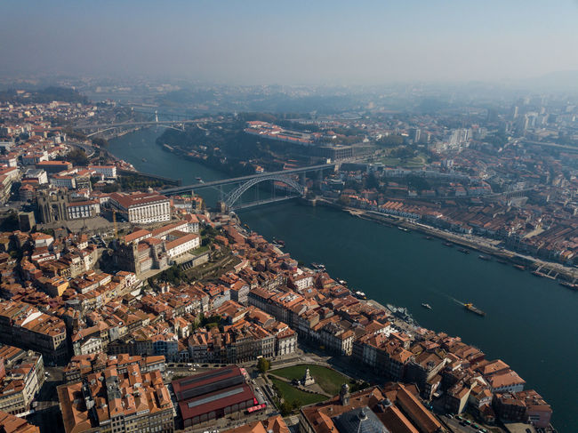 Porto Portugal Aerial View Architecture Building Exterior Built Structure City Cityscape Day High Angle View Nature River Sky Travel Destinations Water