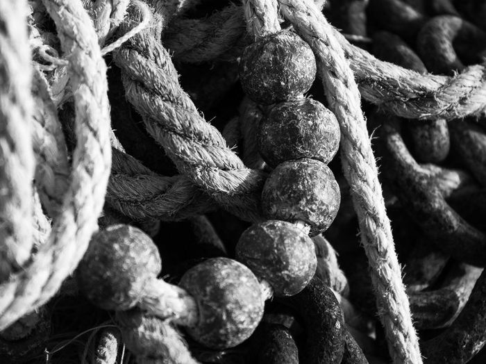 Full frame shot of rope tied to metal