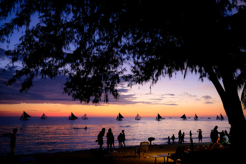 Beach Beauty In Nature Group Of People Horizon Over Water Land Leisure Activity Lifestyles Men Nature Orange Color Outdoors Plant Real People Scenics - Nature Sea Silhouette Sky Sunset Tree Water