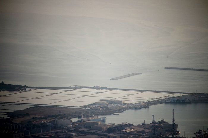 trapani vista da Erice City Cityscape Urban Skyline Business Finance And Industry Foggy Aerial View