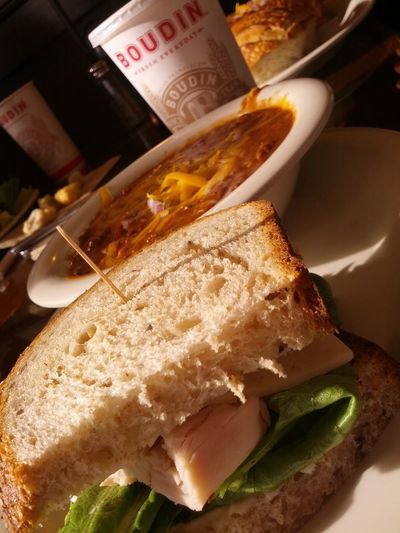 Turkey Sandwiches :) and Chili  for Brunch at Boudin