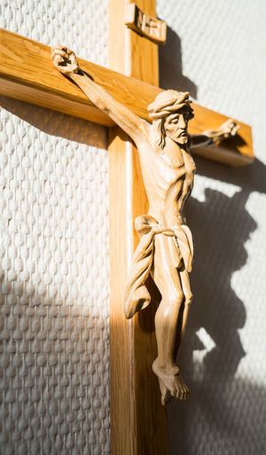 Art And Craft Sculpture Representation Creativity Spirituality No People Religion Human Representation Male Likeness Craft Close-up Focus On Foreground Belief Crucifix Day Statue Sunlight Wood - Material Outdoors My Best Photo