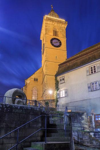 Altstadt Architecture Archival Building Exterior Business Finance And Industry Church Clock Clock Tower Holder Hölderlinstadt Kirche Laurentius Neckar, Neckartal Neckartalradweg Night No People Nuertingen Nürtingen Outdoors Sky Time Tower
