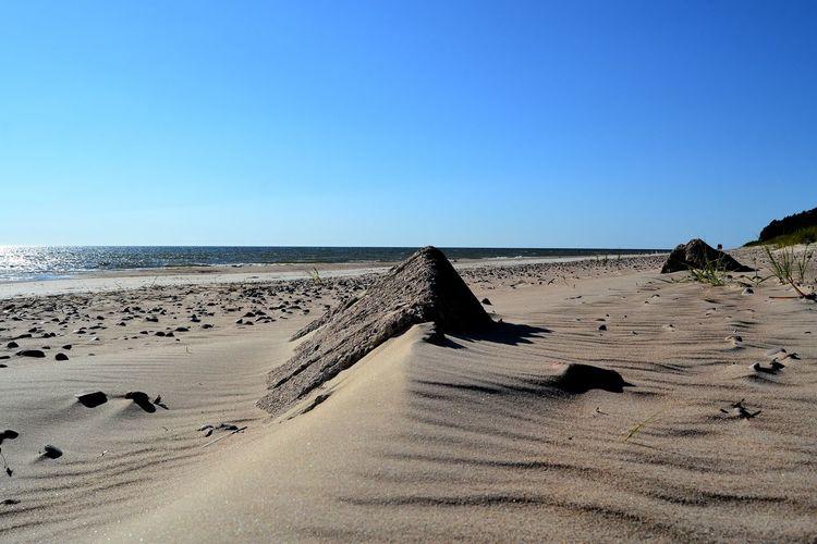 Sand Dune Clear Sky Beach Sea Water Sand Desert Blue Shadow Sky Arid Climate FootPrint