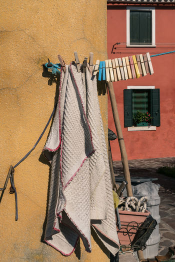 Architecture Burano, Venice Colors Italia Laundry Travel Travel Photography Venezia Venezia, Italia Venice, Italy Building Exterior Burano Clothespin Clothespins Color Colorful Day Hanging Italy No People Outdoors Photography Streetscape Venice Window