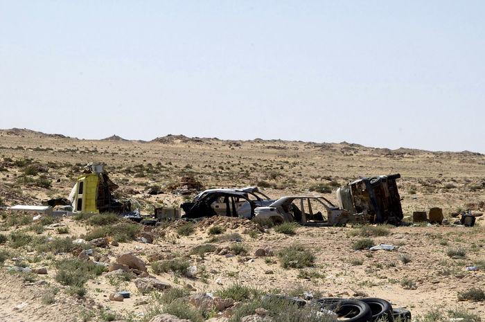 No mans land on the border between Western Sahara and Mauritania. West Africa Abandoned Africa Arid Climate Barren Barren Landscape Car Wreck Desert Desolate Landscape Mauritania No Mans Land Outdoors Sahara Scenics Western Sahara