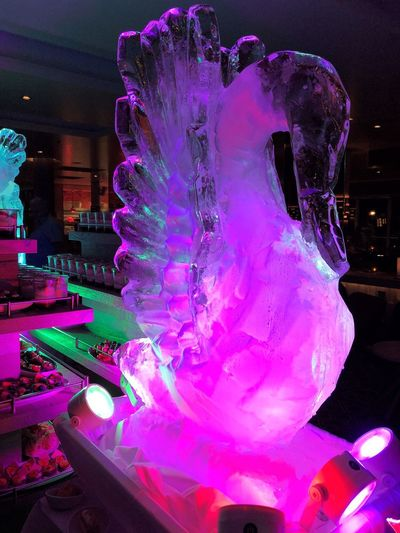 Illuminated Motion Indoors  Night Pink Color Incidental People Architecture Purple Multi Colored Glowing Art And Craft Blurred Motion Creativity Built Structure Real People Arts Culture And Entertainment Sculpture Nightlife Eisskulptur Dekoration Eiskunst Figur Aus Eis Neue Mein Schiff 1