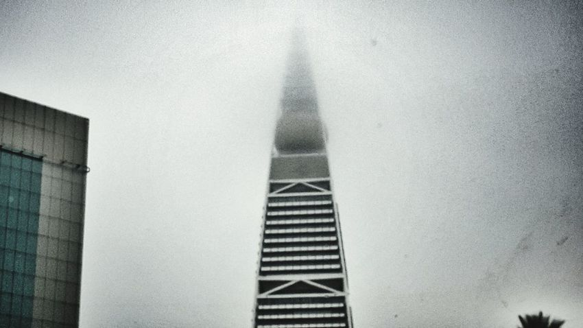 Built Structure Architecture Building Exterior Outdoors Day FogyNature Foggy Morning Faisalya Tower Tall Building Gloomy Day Eerie Scene Fog Looking Up!