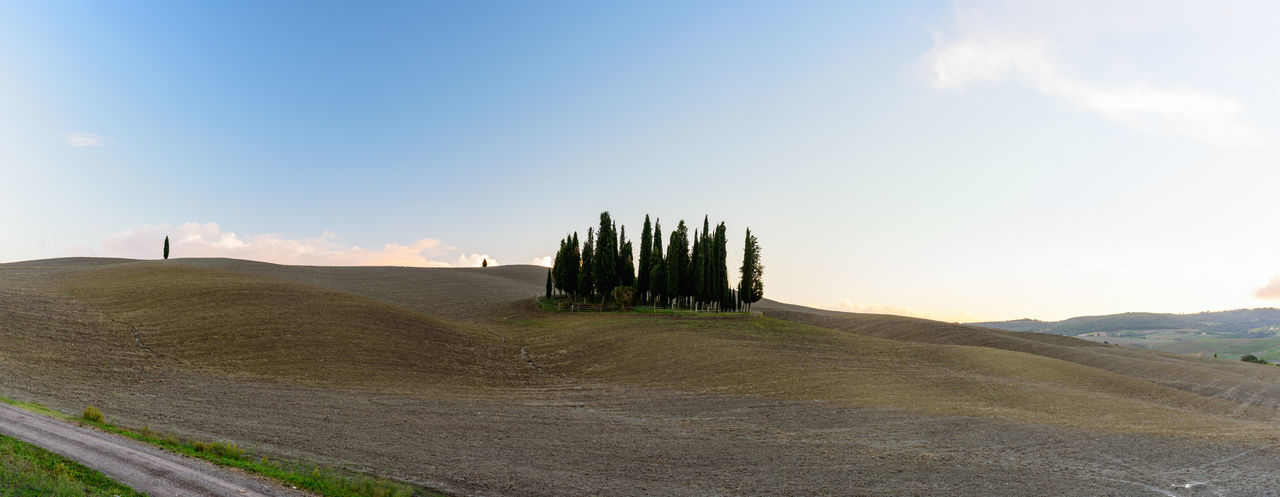 Panoramic view of Val D'orcia valley in autumn Beauty In Nature Blue Cloud Countryside Day Dirt Track Green Green Color Horizon Over Land Landscape Mountain Nature No People Non Urban Scene Non-urban Scene Outdoors Remote Scenics Sky Solitude Straight Surface Level Tranquil Scene Tranquility