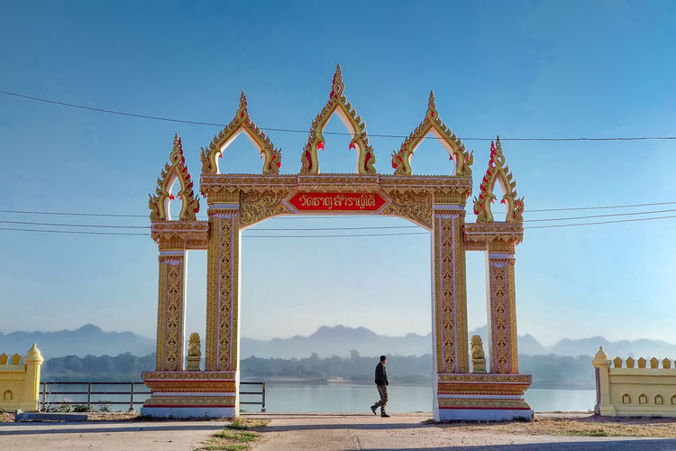 The beauty of the Temple Temple Entrance Thai Design The Beauty Of The Temple Day History In The Morning Mountain Nature One Person Outdoors River Sky Temple