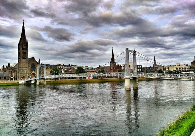 City Cityscape Inverness Bridge Church River Ness Scotland Travel