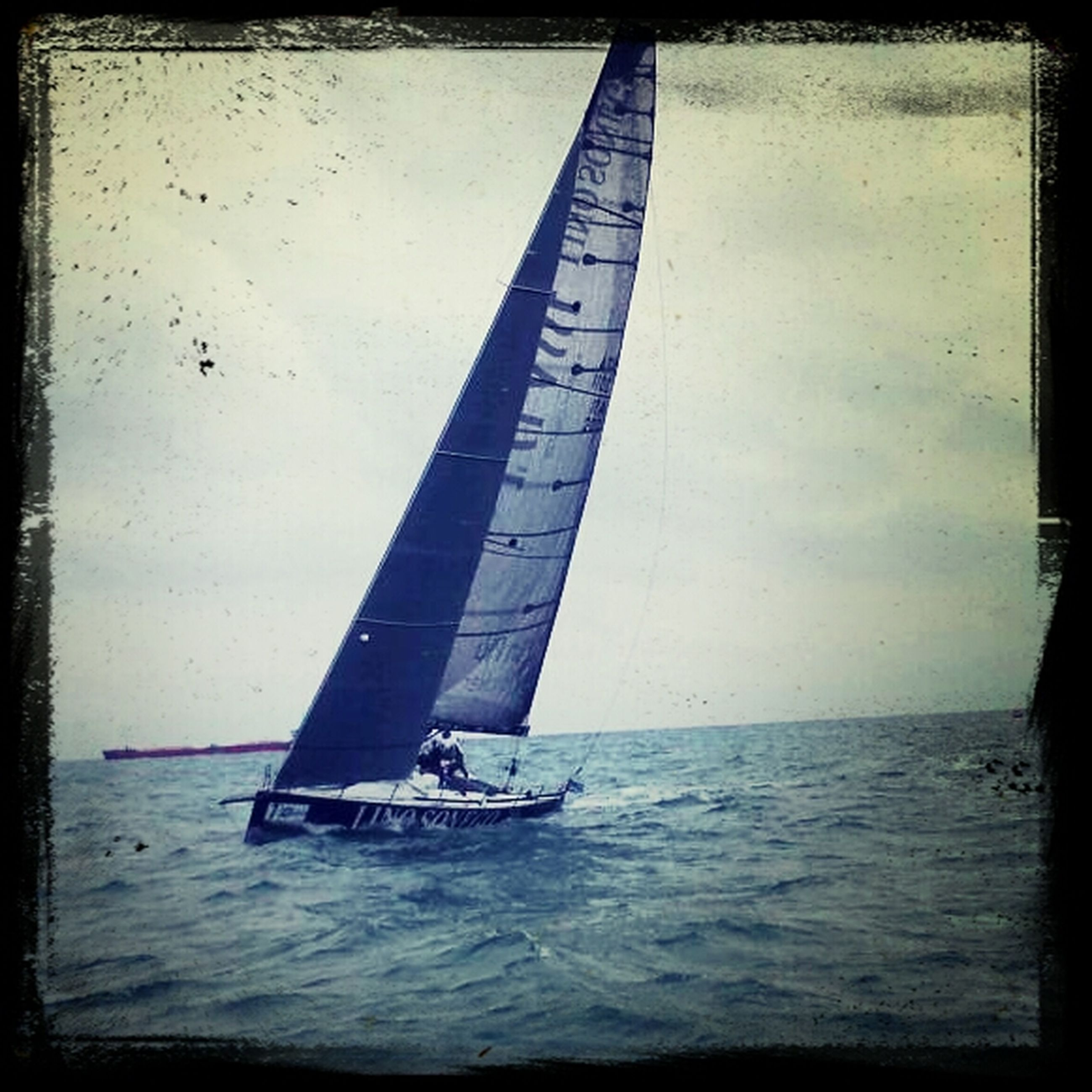 transfer print, sea, water, transportation, nautical vessel, auto post production filter, horizon over water, boat, mode of transport, sky, waterfront, sailing, sailboat, travel, nature, tranquil scene, tranquility, beach, outdoors, scenics