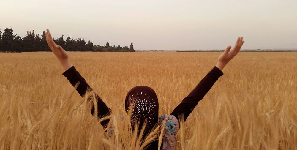Thank you Allah for everything Sunset Wheat Nature People Landscape Faces Of Summer Holiday POV Capturing Freedom