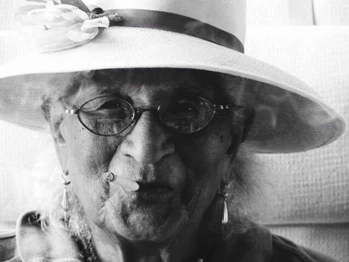 My Grandmother is her own woman Rebel Ninety Three Years Young Independant Woman Artist Portrait Black And White Canon Smoking Sunday Hat Charisma One Of A Kind ❤ Cool Grandma Women Who Inspire You The Portraitist - 2016 EyeEm Awards