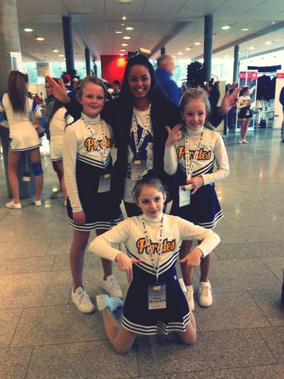 My girls Peewee Cheerleading Competition Pirates