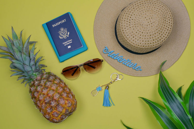 Packing travel items for summer vacation - travel/vacation concept Fun Hat Passport Summer Vacation Travel Trip Vacation Time Accessories Adventure Background Blue Concept Flat Lay Flatlay High Angle View Packing Still Life Summer Sunglasses Theme Tourism Travel Accessories Travel Items