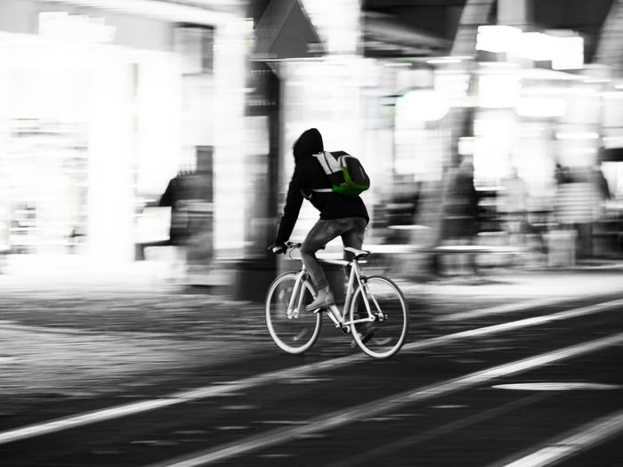 Bicycle in motion Bicycle Blackandwhite Blurred Motion City Cycling Lifestyles Long Exposure Men Mode Of Transport Motion One Person People Real People Road Speed Sport Transportation