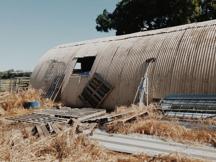 Abandoned barn on sunny day