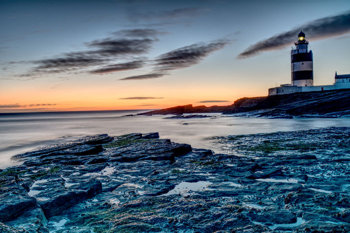 Architecture Horizon Over Water Lighthouse Nature Outdoors Sea Sky Sunset Hook Head, Ireland ,hook Head Lighthouse,wexford,long Exposure Lost In The Landscape