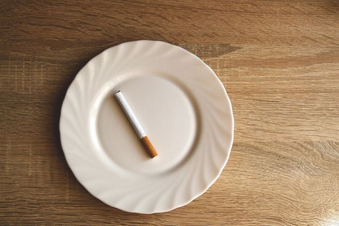 Breakfast smoker Breakfast Close-up Day Directly Above High Angle View Indoors  No People Plate Smoking Studio Shot Table Wood - Material