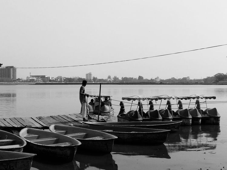 Life Life White And Black Water Sky Rowboat Human People FAR AWAY Wood Outdoors Thailand City Life Shadow LINE Welcome To Black