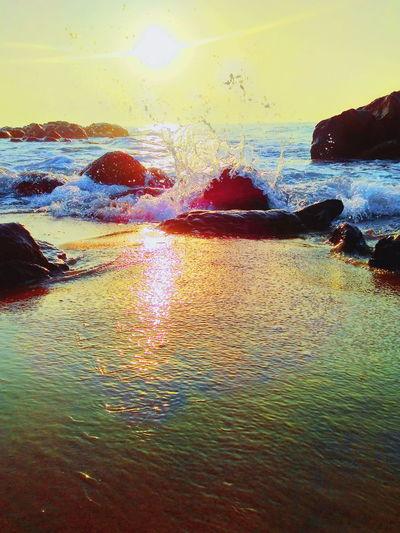Sunset Wet Water Sea Sky Coastline Wave Beach