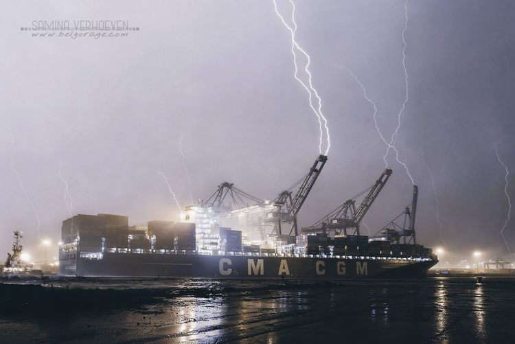 Lightning Illuminated Thunderstorm Storm Cloud Power In Nature Night Sea Nautical Vessel Dramatic Sky Forked Lightning Outdoors Nature Storm Stormy Sky Stormy Weather No People Water First Eyeem Photo