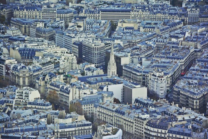 High Angle View Of American Cathedral In Paris Amidst Buildings